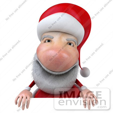 #46337 Royalty-Free (RF) Illustration Of A 3d Big Nose Santa Mascot Standing Behind A Blank Sign by Julos