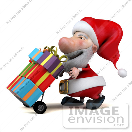 #46342 Royalty-Free (RF) Illustration Of A 3d Big Nose Santa Mascot Pushing Gifts On A Dolly - Version 1 by Julos