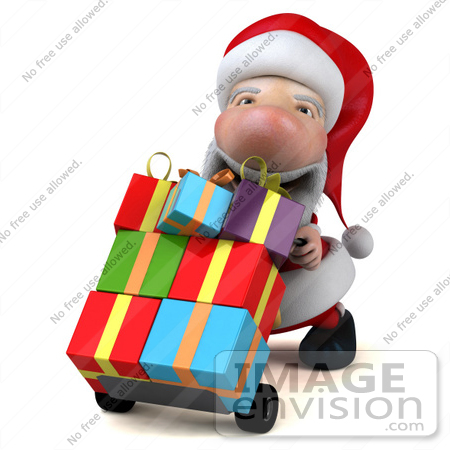 #46345 Royalty-Free (RF) Illustration of a 3d Big Nose Santa Mascot Pushing Gifts On A Dolly - Version 2 by Julos