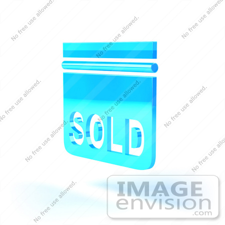 #46520 Royalty-Free (RF) Illustration Of A Blue 3d Sold Sign Floating - Version 5 by Julos