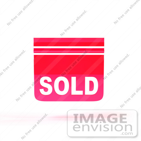 #46521 Royalty-Free (RF) Illustration Of A Pink 3d Sold Sign Floating - Version 1 by Julos