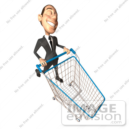 #46539 Royalty-Free (RF) Illustration Of A 3d White Corporate Businessman Mascot Pushing A Shopping Cart - Version 6 by Julos