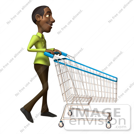 #46547 Royalty-Free (RF) Illustration Of A 3d Casual Black Man Mascot Pushing A Shopping Cart - Version 2 by Julos