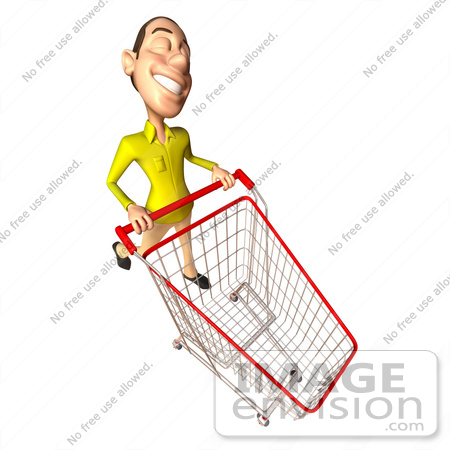 #46550 Royalty-Free (RF) Illustration Of A 3d Casual White Man Mascot Pushing A Shopping Cart - Version 5 by Julos