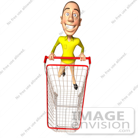#46552 Royalty-Free (RF) Illustration Of A 3d Casual White Man Mascot Pushing A Shopping Cart - Version 6 by Julos