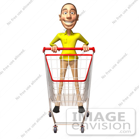 #46553 Royalty-Free (RF) Illustration Of A 3d Casual White Man Mascot Pushing A Shopping Cart - Version 4 by Julos