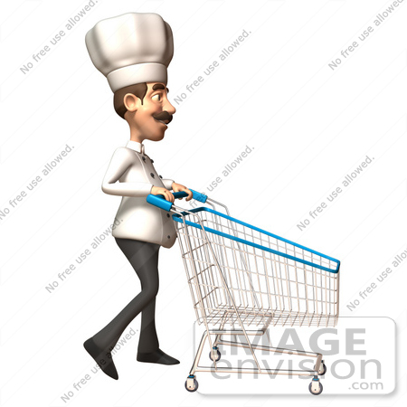 #46562 Royalty-Free (RF) Illustration Of A 3d Chef Henry Mascot Pushing A Shopping Cart - Version 5 by Julos