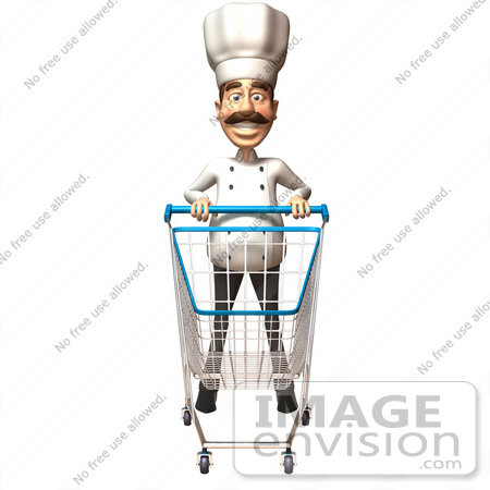 #46564 Royalty-Free (RF) Illustration Of A 3d Chef Henry Mascot Pushing A Shopping Cart - Version 6 by Julos