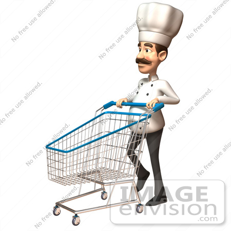 #46565 Royalty-Free (RF) Illustration Of A 3d Chef Henry Mascot Pushing A Shopping Cart - Version 4 by Julos