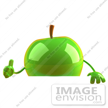 #46582 Royalty-Free (RF) Illustration Of A 3d Green Apple Mascot Giving The Thumbs Up And Standing Behind A Blank Sign by Julos