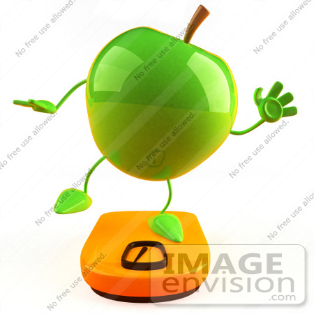 #46584 Royalty-Free (RF) Illustration Of A 3d Green Apple Mascot Standing On A Scale - Version 3 by Julos
