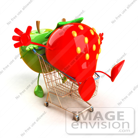 #46586 Royalty-Free (RF) Illustration Of A 3d Green Apple Mascot Pushing A Strawberry In A Shopping Cart - Version 1 by Julos
