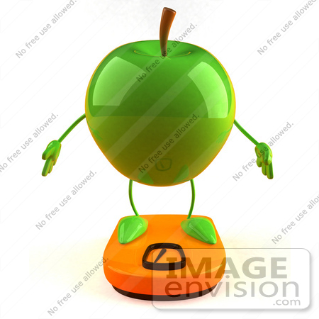 #46589 Royalty-Free (RF) Illustration Of A 3d Green Apple Mascot Standing On A Scale - Version 1 by Julos