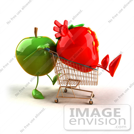 #46590 Royalty-Free (RF) Illustration Of A 3d Green Apple Mascot Pushing A Strawberry In A Shopping Cart - Version 2 by Julos