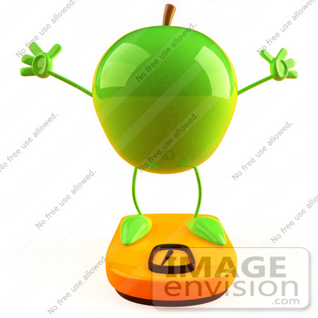 #46592 Royalty-Free (RF) Illustration Of A 3d Green Apple Mascot Standing On A Scale by Julos