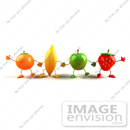 #46597 Royalty-Free (RF) Illustration Of A Line Of 3d Orange, Banana, Green Apple And Strawberry Mascots Holding Hands by Julos