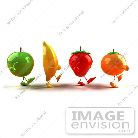 #46598 Royalty-Free (RF) Illustration Of 3d Green Apple, Banana, Strawberry And Orange Mascots Marching Right - Version 1 by Julos