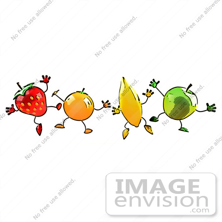 #46603 Royalty-Free (RF) Illustration Of A Line Of Orange, Banana, Green Apple And Strawberry Mascots Jumping by Julos
