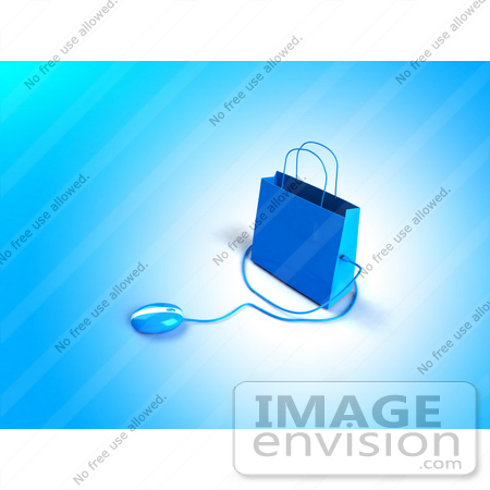 #46632 Royalty-Free (RF) Illustration Of A 3d Blue Shopping Bag With A Computer Mouse - Version 1 by Julos