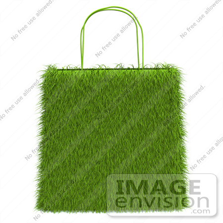 #46634 Royalty-Free (RF) Illustration Of A 3d Grassy Green Shopping Bag by Julos