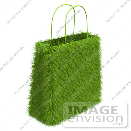 #46636 Royalty-Free (RF) Illustration Of A 3d Green Eco Friendly Grass Shopping Bag by Julos