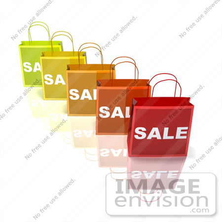#46640 Royalty-Free (RF) Illustration Of A 3d Row Of Colorful Sale Shopping Bags - Version 2 by Julos