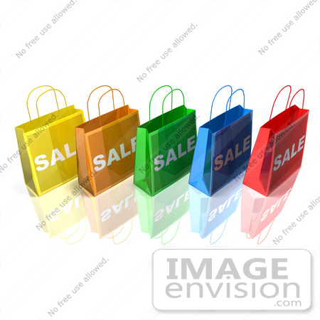 #46643 Royalty-Free (RF) Illustration Of A 3d Row Of Colorful Sale Shopping Bags - Version 3 by Julos