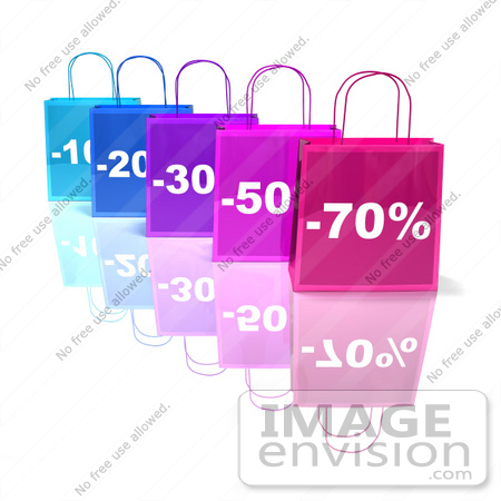 #46646 Royalty-Free (RF) Illustration Of A 3d Row Of Blue And Purple Discount Shopping Bags - Version 3 by Julos