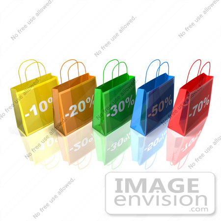 #46650 Royalty-Free (RF) Illustration Of A 3d Row Of Colorful Discount Shopping Bags - Version 2 by Julos