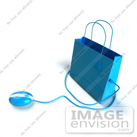 #46656 Royalty-Free (RF) Illustration Of A 3d Blue Shopping Bag With A Computer Mouse - Version 4 by Julos