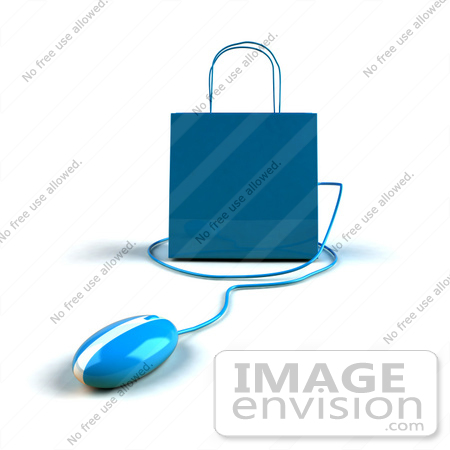 #46657 Royalty-Free (RF) Illustration Of A 3d Blue Shopping Bag With A Computer Mouse - Version 5 by Julos