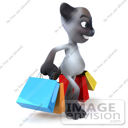 #46659 Royalty-Free (RF) Illustration Of A 3d Siamese Pussy Cat Mascot Carrying Shopping Bags - Version 2 by Julos