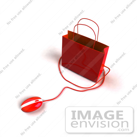 #46660 Royalty-Free (RF) Illustration Of A 3d Red Shopping Bag With A Computer Mouse by Julos