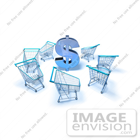 #46665 Royalty-Free (RF) Illustration Of A 3d Dollar Symbol Surrounded By Shopping Carts - Version 4 by Julos