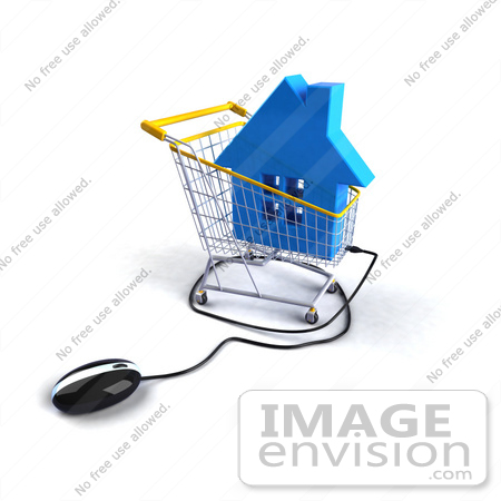 #46670 Royalty-Free (RF) Illustration Of A 3d Computer Mouse Under A Blue House In A Shopping Cart by Julos