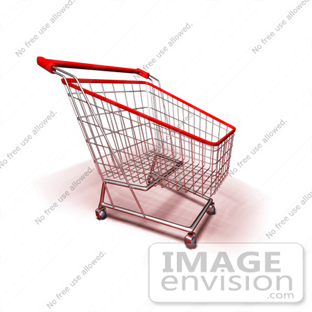 #46672 Royalty-Free (RF) Illustration Of A 3d Empty Red Rimmed Shopping Cart - Version 4 by Julos
