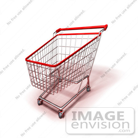 #46673 Royalty-Free (RF) Illustration Of A 3d Empty Red Rimmed Shopping Cart - Version 2 by Julos