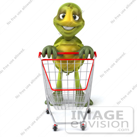 #46678 Royalty-Free (RF) Illustration Of A 3d Green Tortoise Mascot Pushing A Shopping Cart by Julos