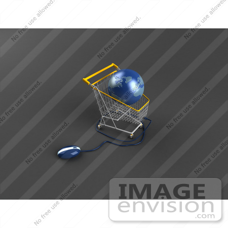 #46699 Royalty-Free (RF) Illustration Of A 3d Blue Globe Resting In A Shopping Cart With A Computer Mouse - Version 3 by Julos