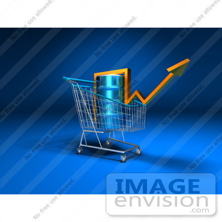 #46704 Royalty-Free (RF) Illustration Of A 3d Arrow Over An Oil Barrel In A Shopping Cart - Version 1 by Julos