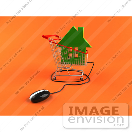#46712 Royalty-Free (RF) Illustration Of A 3d Computer Mouse Under A Green Home In A Shopping Cart by Julos
