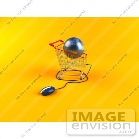 #46713 Royalty-Free (RF) Illustration Of A 3d Blue Globe Resting In A Shopping Cart With A Computer Mouse - Version 2 by Julos