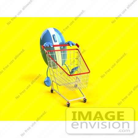 #46714 Royalty-Free (RF) Illustration Of A 3d Blue Computer Mouse Mascot Pushing A Shopping Cart - Version 3 by Julos