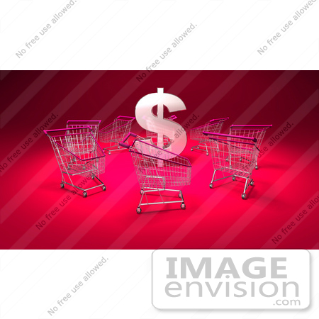 #46715 Royalty-Free (RF) Illustration Of A 3d Dollar Symbol Surrounded By Shopping Carts - Version 5 by Julos