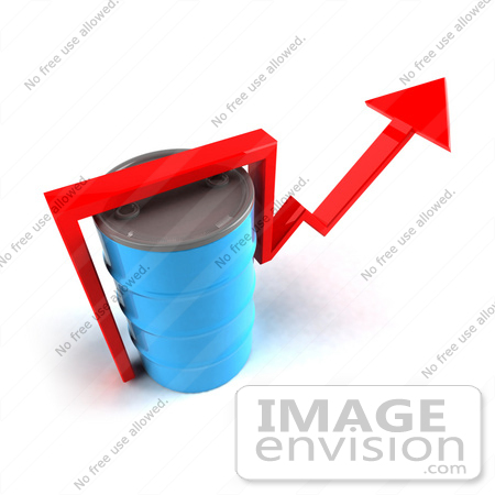 #46718 Royalty-Free (RF) Illustration Of A 3d Red Arrow Going Around A Blue Oil Barrel - Version 4 by Julos