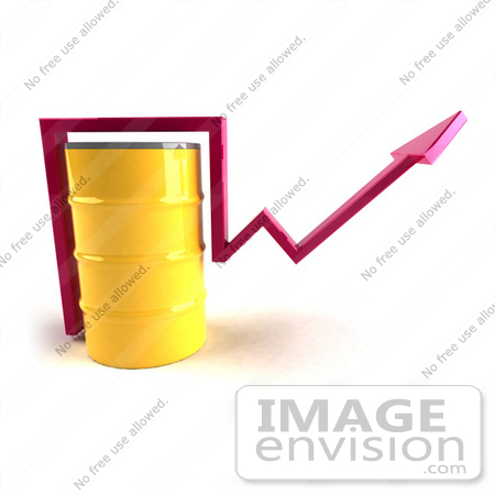 #46721 Royalty-Free (RF) Illustration Of A 3d Pink Arrow Going Around A Yellow Oil Barrel - Version 1 by Julos