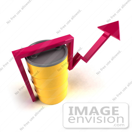 #46723 Royalty-Free (RF) Illustration Of A 3d Pink Arrow Going Around A Yellow Oil Barrel - Version 4 by Julos
