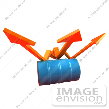 #46724 Royalty-Free (RF) Illustration Of Three 3d Orange Arrows Spanning Over A Blue Oil Barrel - Version 1 by Julos