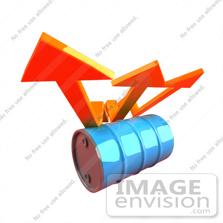 #46725 Royalty-Free (RF) Illustration Of Three 3d Orange Arrows Spanning Over A Blue Oil Barrel - Version 2 by Julos