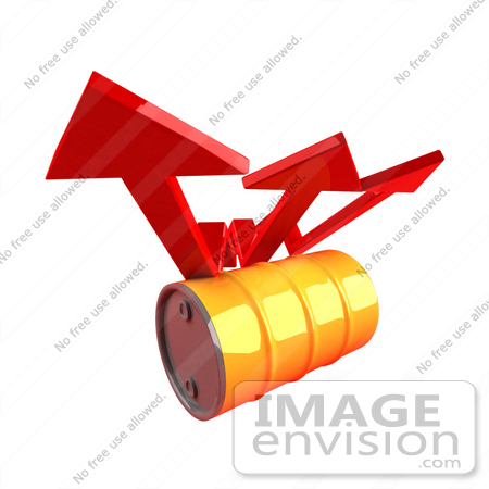 #46727 Royalty-Free (RF) Illustration Of Three 3d Red Arrows Spanning Over An Orange Oil Barrel - Version 2 by Julos